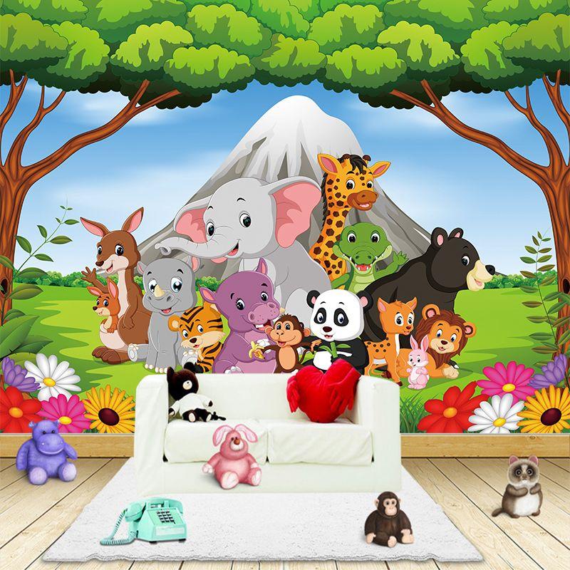 3D Cartoon Animal Canvas Wallpaper Wall Sticker murals Children's Room Art Poster Stickers Living Bedroom Home Decoration