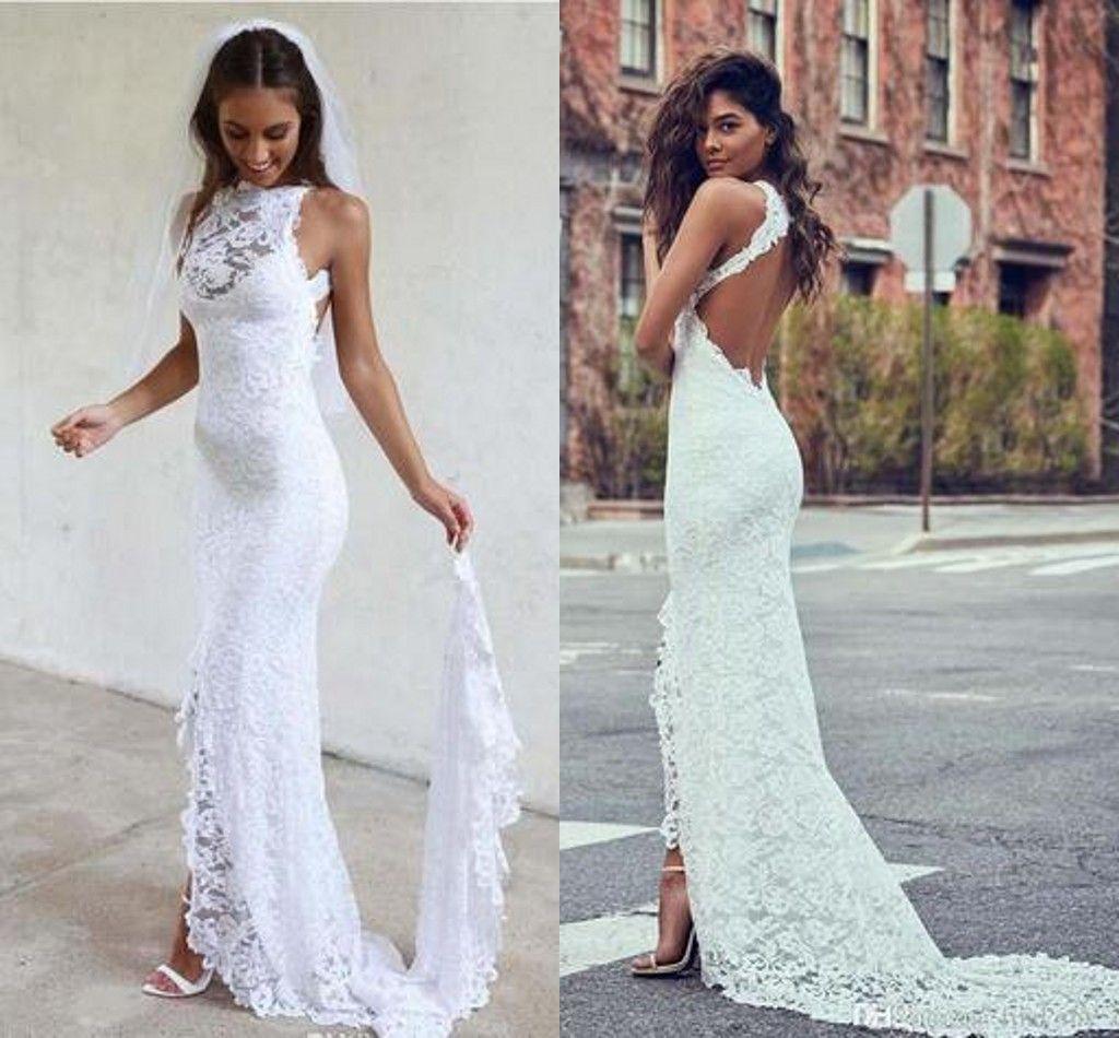 Low Open Back Lace Mermaid Wedding Dresses