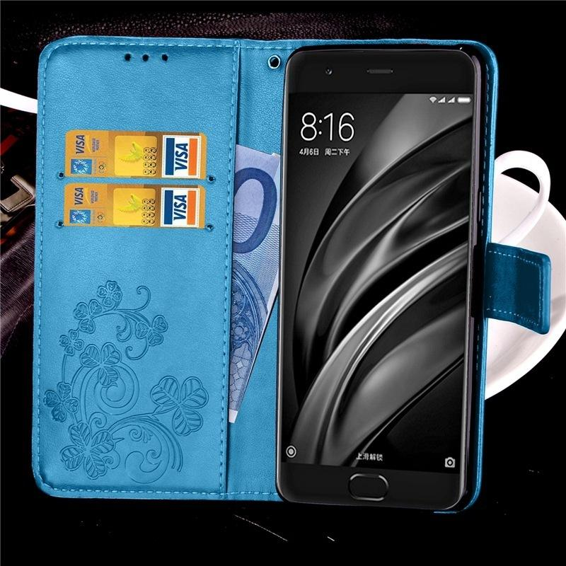 Case for Xiaomi 6 Case Flip Cover Mi 6 Luxury Wallet Capa Funda Coque PU Leather Pouch Lucky Four-leaf back Clover Style bags