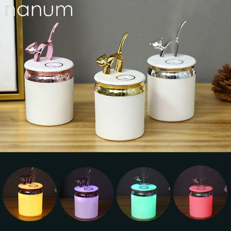 Nova 200 ml Q Cat Umidificador Mini USB Purificador De Ar Aromaterapia Difusor De Óleo Essencial LEVOU Luz Da Noite purificadores de ar Do Carro Fogger