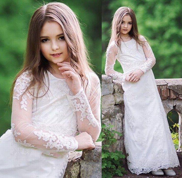 Güzel LaceTulle Çiçek Kız Elbise A Hattı Çocuklar Pincess Pageant Düğün Nedime Çocuk Elbise GHYTZ17
