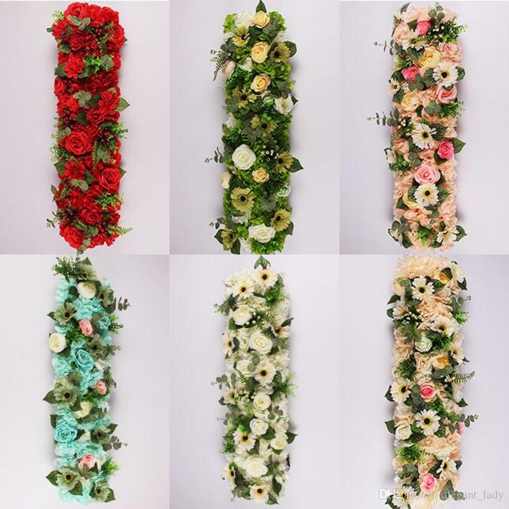 25 * 100 cm Elegancki Sztuczny Kwiat Rzędy Ślubne Centerspecces Road Cytowany Kwiat Stół Runner Dekoracje Darmowa Wysyłka