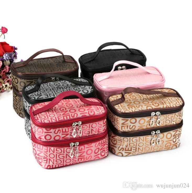 Fashion Double Layer Letters Cosmetic Bag Makeup Tool Storage Bags Multifunctional Storage Package Popular