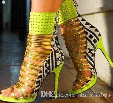 2018 donne di estate di modo sandali gladiatore stivali peep toe caviglia bota ritaglia bottoni in gabbia stivaletti strass scarpe tacco sottile