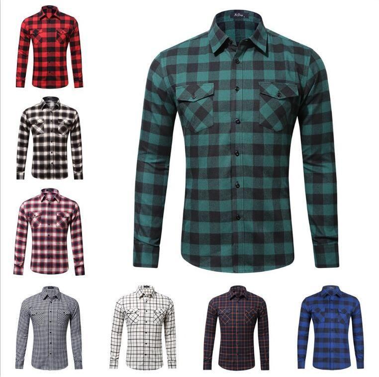 Горячие продажи мужские с длинными рукавами фланель повседневная клетчатая рубашка мужчины клетчатые рубашки тонкий стильный горячие продажа мужская решетка рубашка бесплатно Shippi