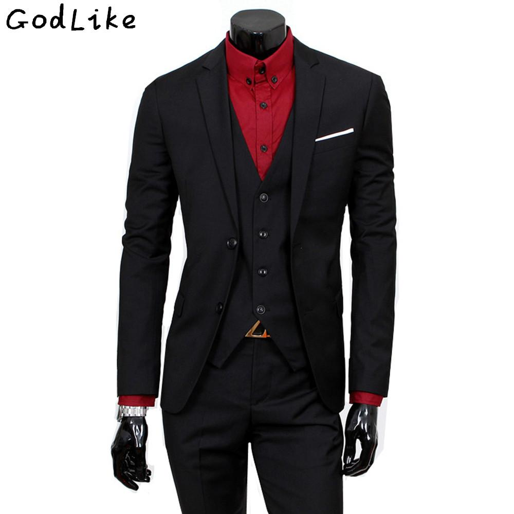 (Jacket+Pants+Vest)2017 New wedding Solid color Suits For Men gentleman style custom made Men's Party tailor suit Blazer Set