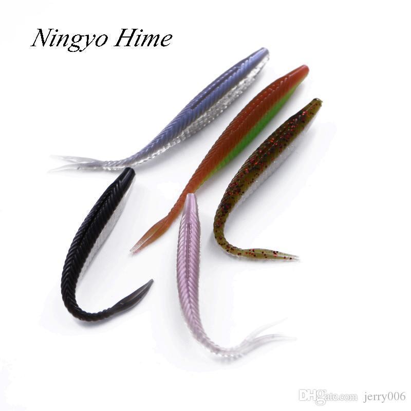 Hime5pcs/lot Double Color Soft Bait Fish Fishing Lure 10cm/4.7g Soft Silicone Artificial Bait Plastic Lure Carp Soft Lure