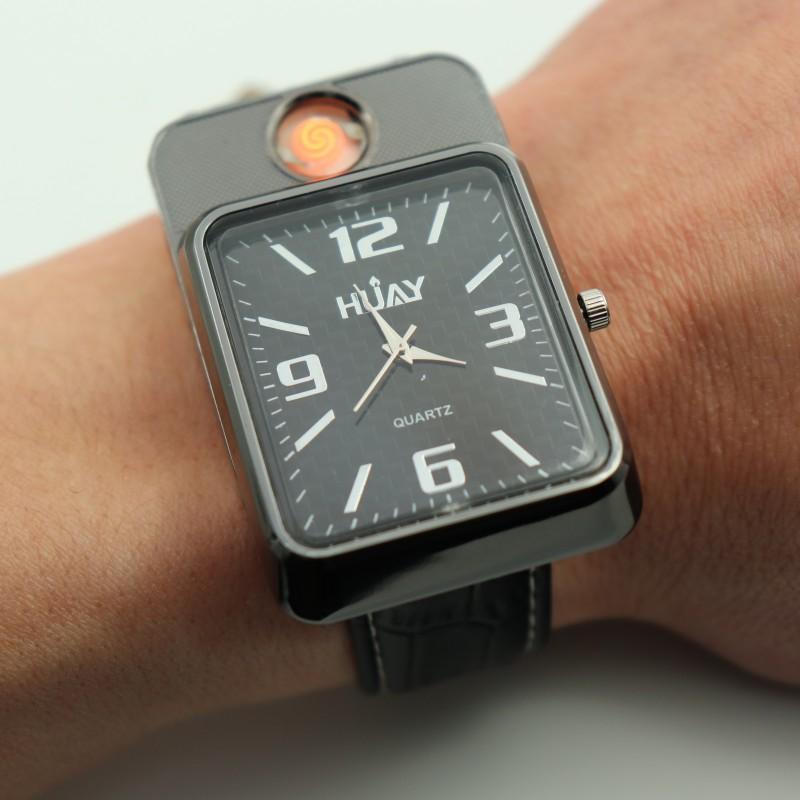 2018 Nuovi orologi più leggeri per gli uomini orologio sportivo al quarzo moda USB ricarica accendisigari senza fiamma accendino militare orologi da polso F777