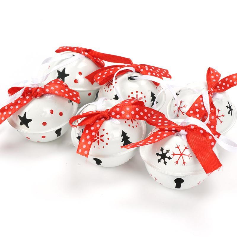 Елочные украшения для дома 6 шт. белый красный металл колокол 50 мм 3 типа снежинка печати Рождественский кулон висит мяч 2018 Y18102909