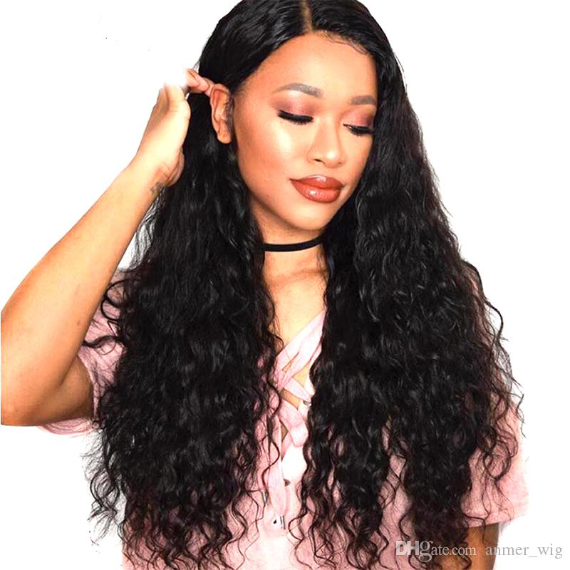 2018 smooth soft shine aaaaaaa grade beauty 100% unprocessed remy virgin human hair natural color long kinky curly full lace wig for women