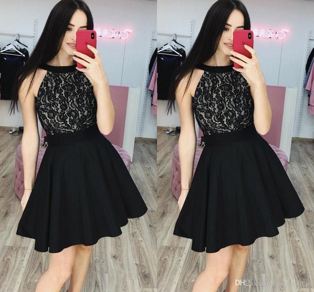 großhandel günstige black lace cocktailkleider party kleid halter open back  a linie kurzes abendkleid homecoming kleider günstige 2019 neue ankunft