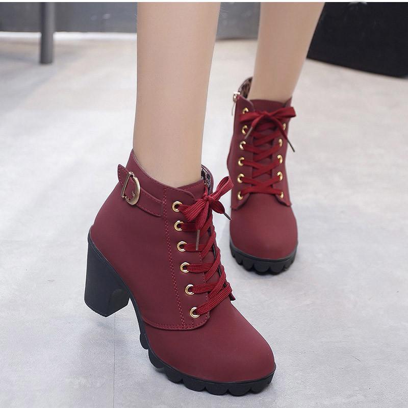 Compre Tallas Grandes Botines Mujer Plataforma Tacones Altos Con Cordones Hebilla Correa Zapatos Grueso Tacón Bota Corta Cremallera Calzado MAZIAO A