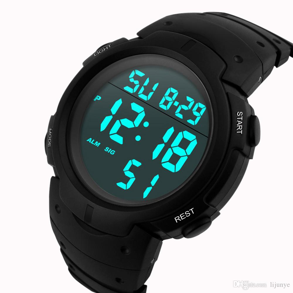 Orologio sportivo da polso sportivo digitale da uomo, impermeabile, da uomo, in pelle, con quadrante digitale