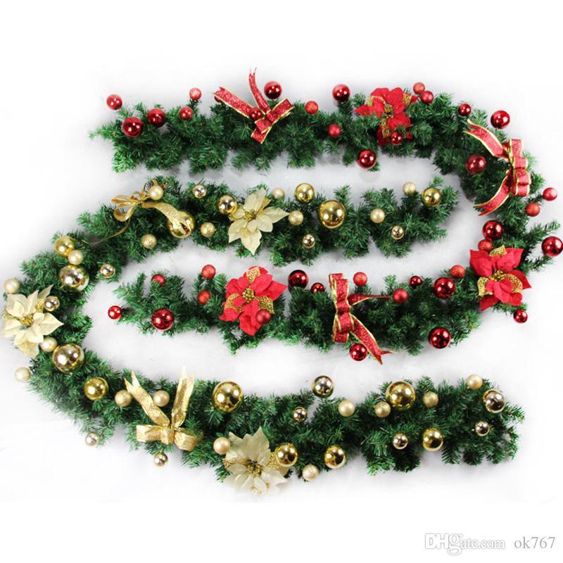 2 .7m (9 pies) Artificial Verde Coronas de Navidad de la guirnalda de la guirnalda Chimenea para Navidad Año Nuevo decoración del árbol de la fiesta en casa