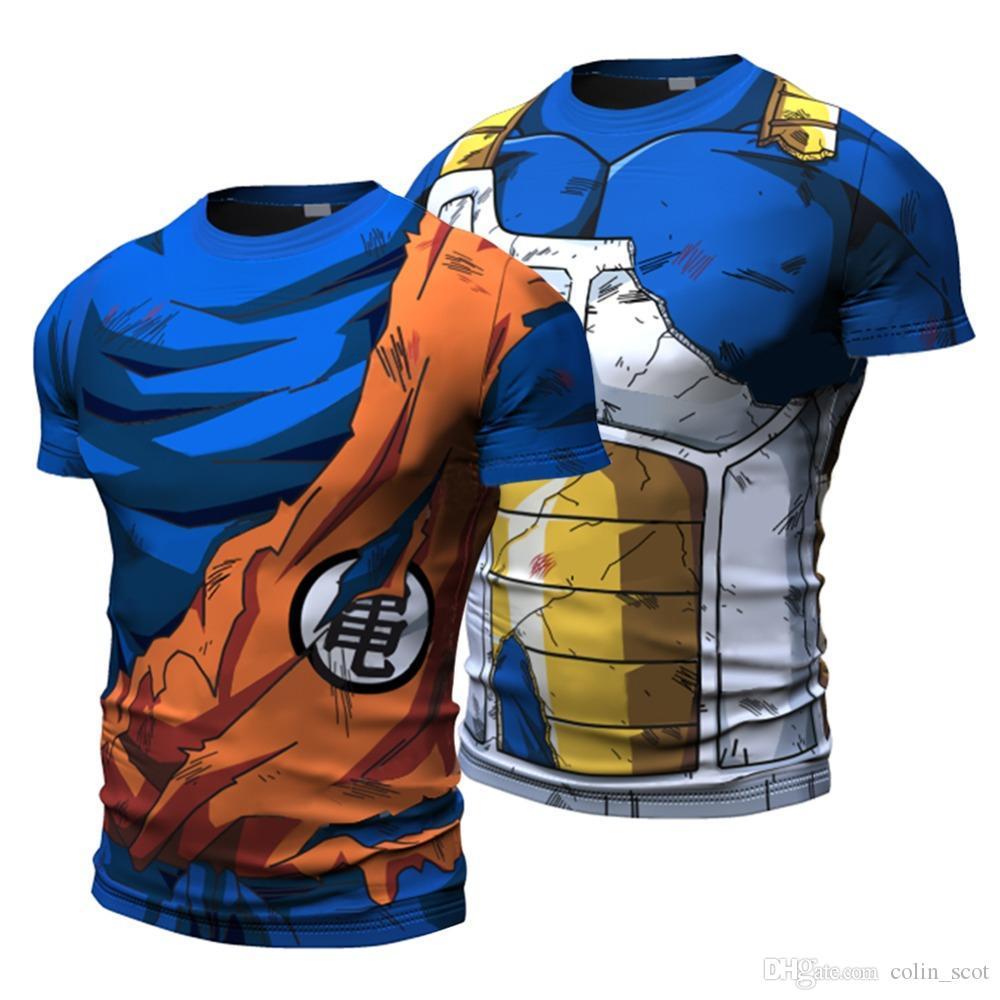 2018 Ball Z Men 3D Dragon Ball Z T Shirt Vegeta Goku الصيف نمط جيرسي 3D بلايز موضة الملابس تيز بلس
