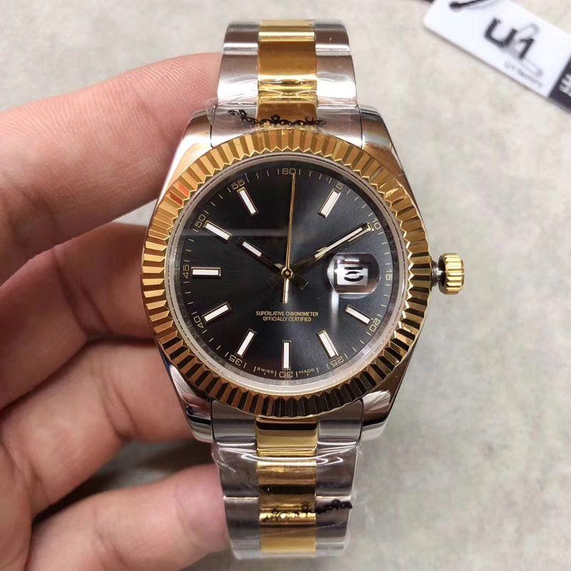 En satış 41mm Datejust Saatler Erkekler Mekanik Otomatik İzle Reloj Iş Moda çelik Toka Paslanmaz Çelik erkek izle
