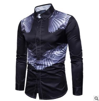 Men s shirt new men's angel wings long sleeve large size shirt Lapel single-breasted print Fashion casual clothing