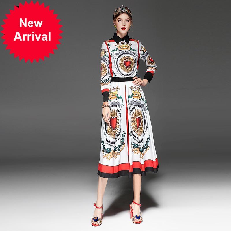 Yüksek Kaliteli Pist Moda Tasarımcısı İki Adet Set kadın Uzun Kollu Bow Bluz + Baskılı Etek Takım Setleri