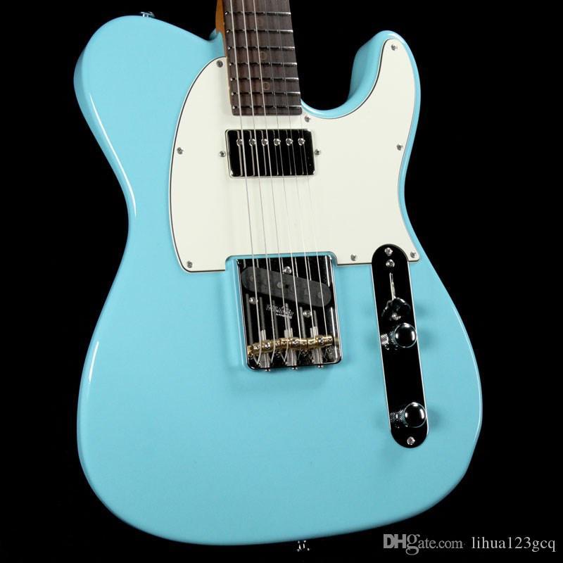 China guitars Custom Shop/Sky blue/basswood body/Rosewood Fingerboard/Maple Fingerboard/6 string su-h-TL Electric Guitar/
