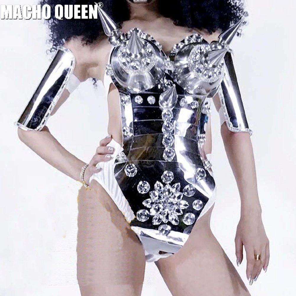 Espelho Completo Spike Bodysuit Trajes Da Rainha de Dragão das Mulheres Celebridade Outfit Stage Dance Wear Trajes Para Os Cantores Desfile de Moda