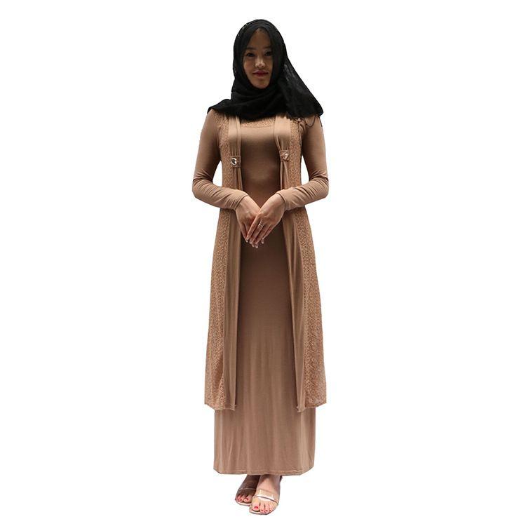 Nouveau Musulman Abaya Arab Vêtement Ethnique Grande Taille Dentelle Jubah Jilbab Kaftan Burqas Costumes Américain Musulmans Femmes Robe