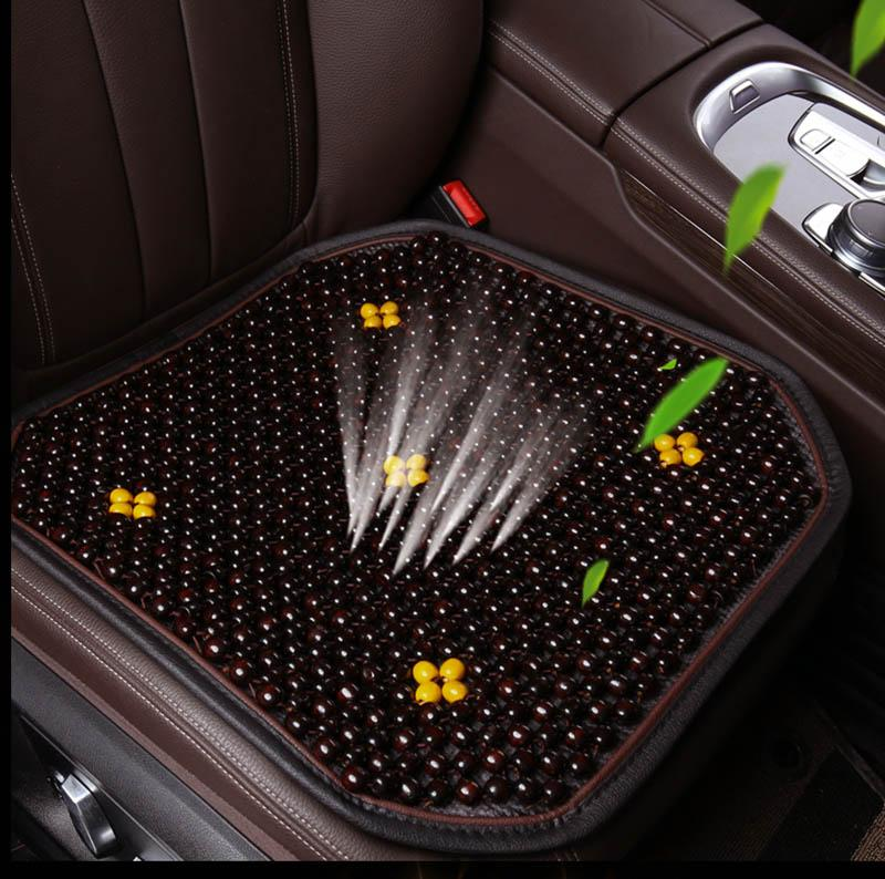 1x Auto Car Truck Natural Wood Beaded Massage Seat Cover Cushion Coffee Summer