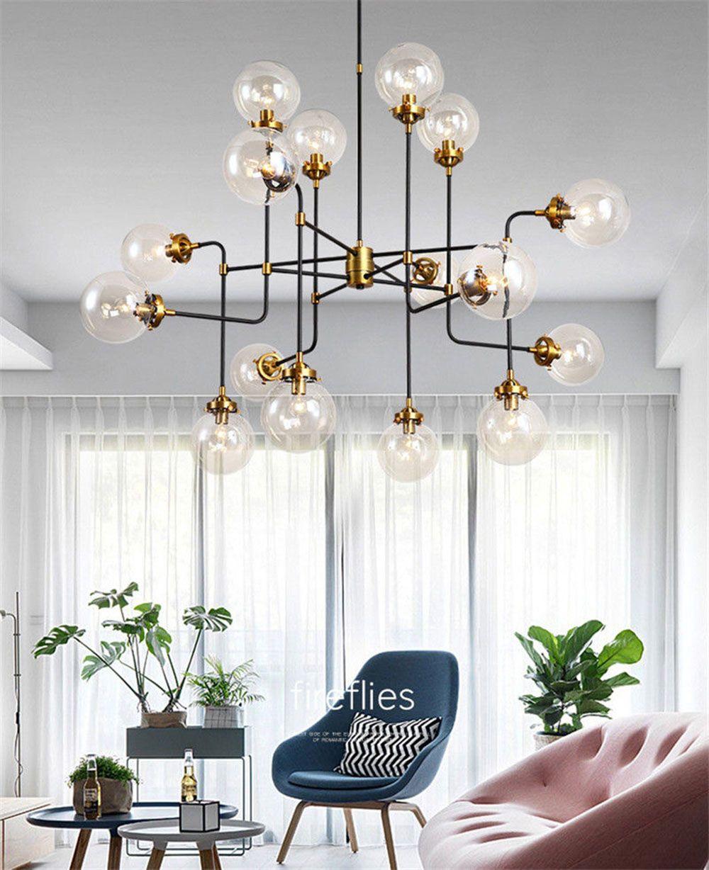 Ретро стеклянный шар Люстра Волшебное Bean Pendant Light Hotel Home Гостиная Столовая Украшение Потолочный светильник PA0551