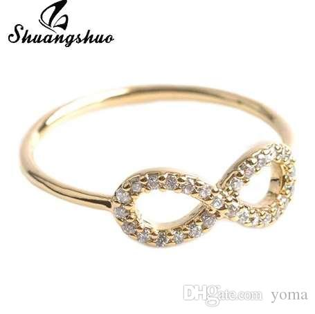 Shuangshuo متعدد الألوان الفضية إنفينيتي حلقة صداقة مع الكريستال أفضل صديق خواتم الزفاف خواتم الخطبة مجوهرات للنساء