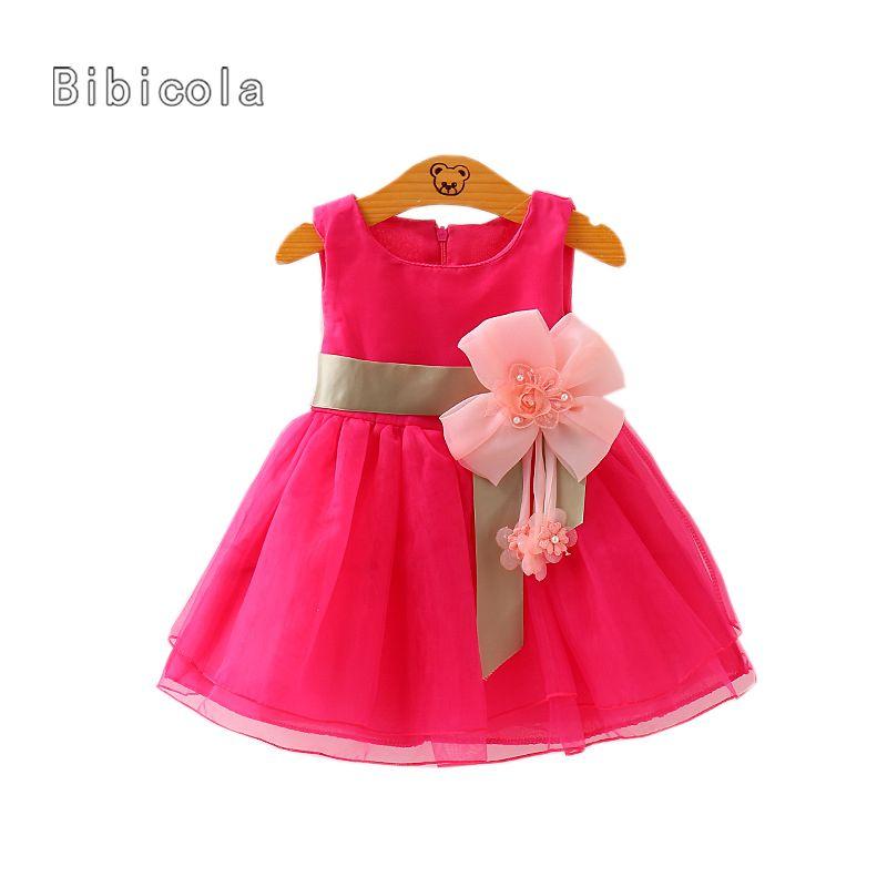 Compre Cola Vestido De Verano Para Bebés Bebés Bebés Niñas Sólido Cinturón De Flores Vestidos En Capas De Tul Vestido Tutu Vestido De Moda Para Bebés
