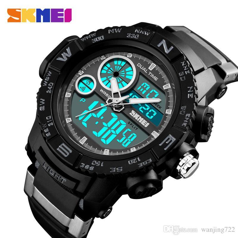 SKMEI Outdoor Sports Wasserdicht Resistant Shock Uhren Mode Männer Dual Zeitzone Display Digital Armbanduhr Mann Relogio Masculino