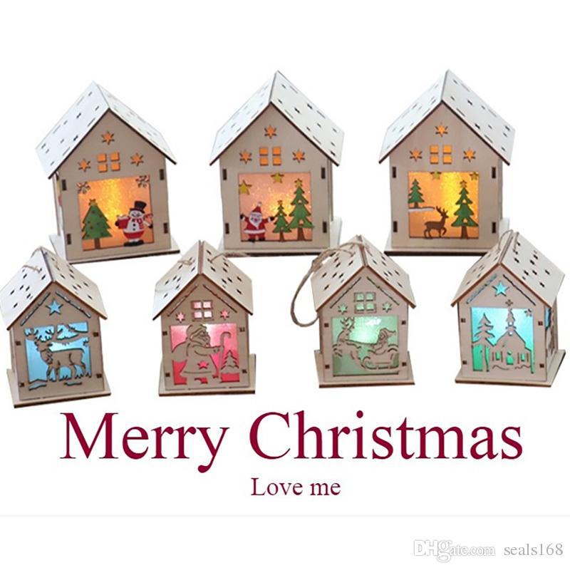 DIY Рождественская Елка Дом Висит Украшения Рождественский Фестиваль Украшения Led Light Wood House Праздник Декор Рождественский Подарок HH7-1705