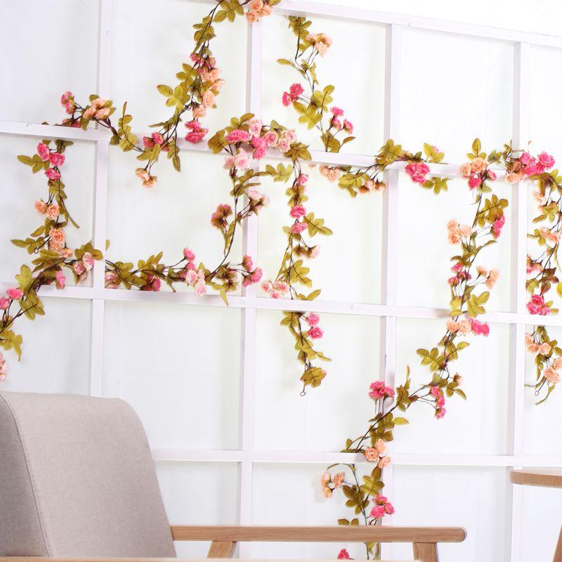 Flores artificiais de seda rosa hera falso videira ivy europeu pendurado garland rattan floral casamento festa em casa cenário do hotel decoração flores