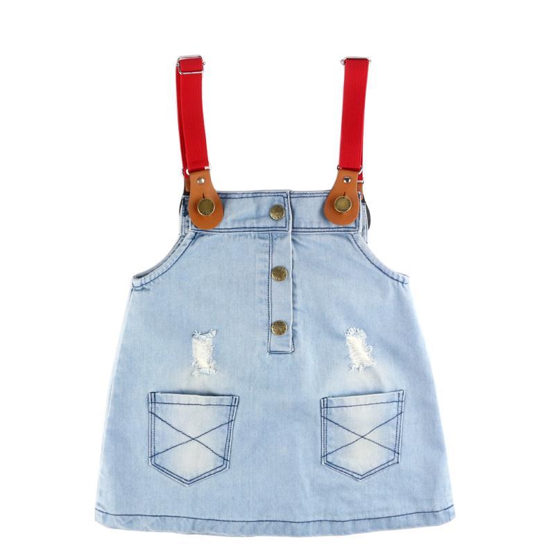 Novíssimo Roupa Crianças queda meninas Vestidos da escola dos miúdos Roupas Baby Girl Moda Denim Casual Diamante Strap Girls Dress
