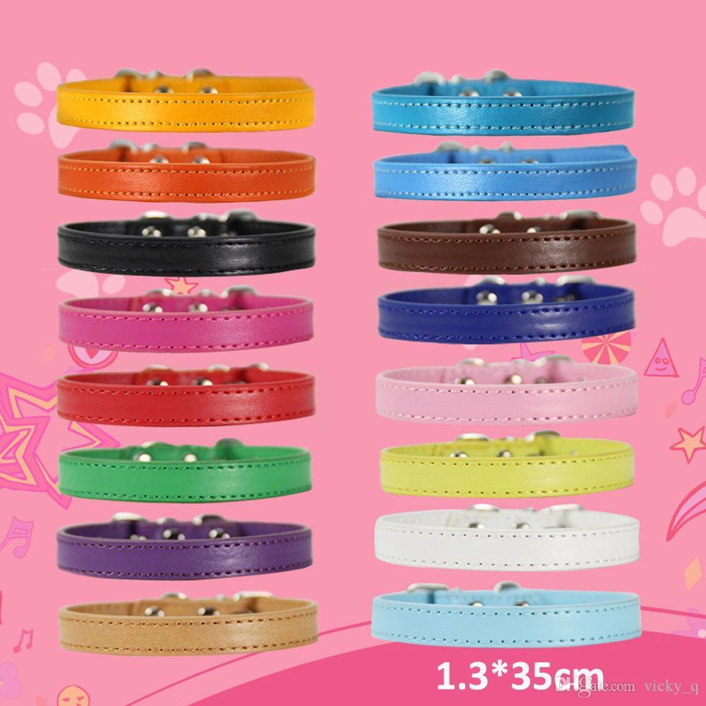 Taglia M Larghezza 1.3 Collare regolabile in pelle colorata per cane cucciolo di gatto Forniture per animali domestici