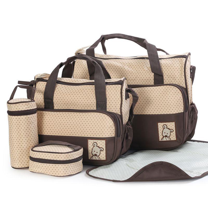 Buena calidad del bebé bolsas de bolsas de pañales mamá bolsa de bebe bolso Maternidade multifunción 5 piezas bolso del panal de la madre de la momia