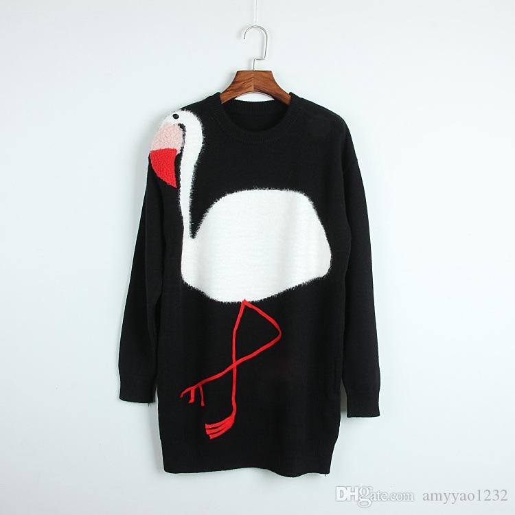 718 2018 Marke gleichen Stil Pullover Pullover Langarm Rundhalsausschnitt Prom Pullover getäfelten Mode gestreift schwarz weiß Luxus DL