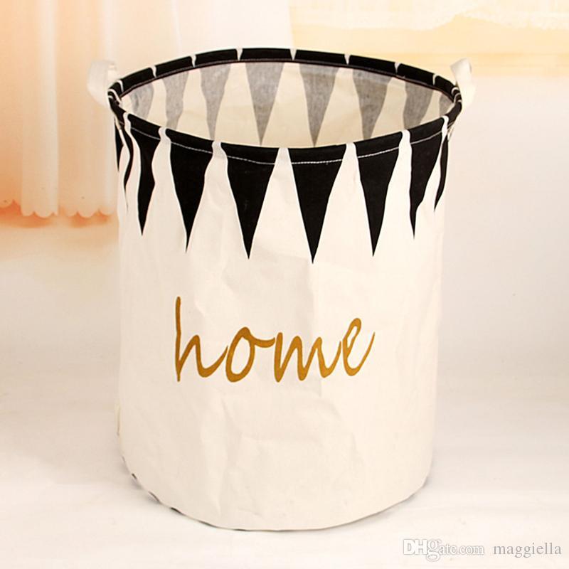 5pcs/lot Foldable Cotton Linen Dirty Clothes Storage Barrel Laundry Basket Household Kids Toys Organizer 40*50cm