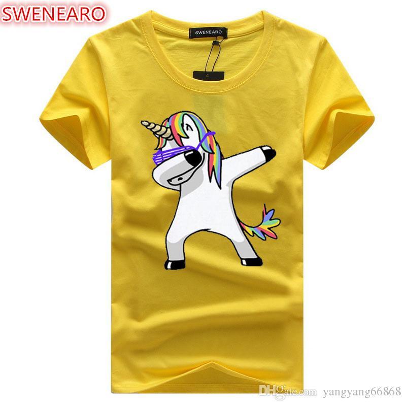 Мужская мода Dab Единорог печати футболки с коротким рукавом повседневная топы смешные Dabbing дизайн О-образным вырезом хлопок футболки мужчины Sweatwear тройники
