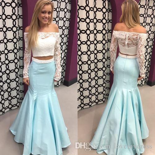Elegante lange Hülsen 2 Stück Abschlussball-Kleid-Abend-formale Kleider Nixe weg von der Schulter-Spitze Illusion Satin Günstige Festzug-Kleid Neu