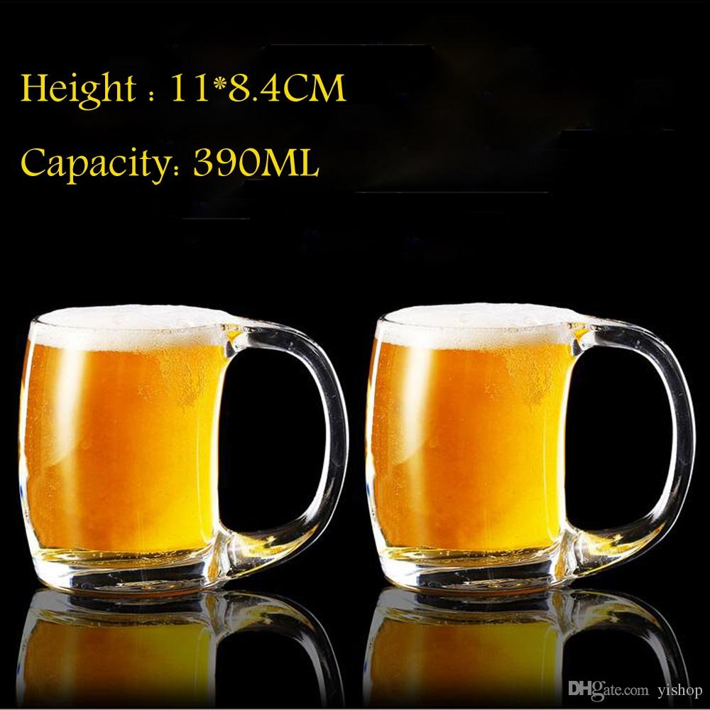 24pcs/Lot Wholesale 390ML Beer Mug Cup With Handle Hot Tea Juice Whisky Wine Glass Home Bar Party Cheers Beer Steins
