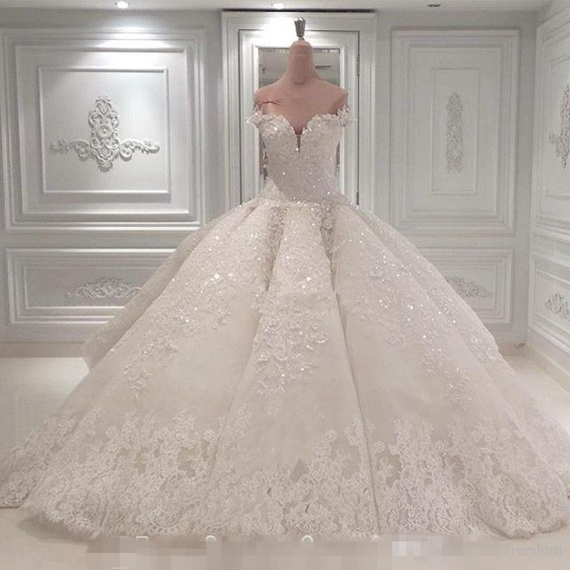 Vestido De Noiva Abiti da sposa Ball Gown 2019 Off The Shoulder Cathedral Train Appliques Abito da sposa Abito da chiesa su misura