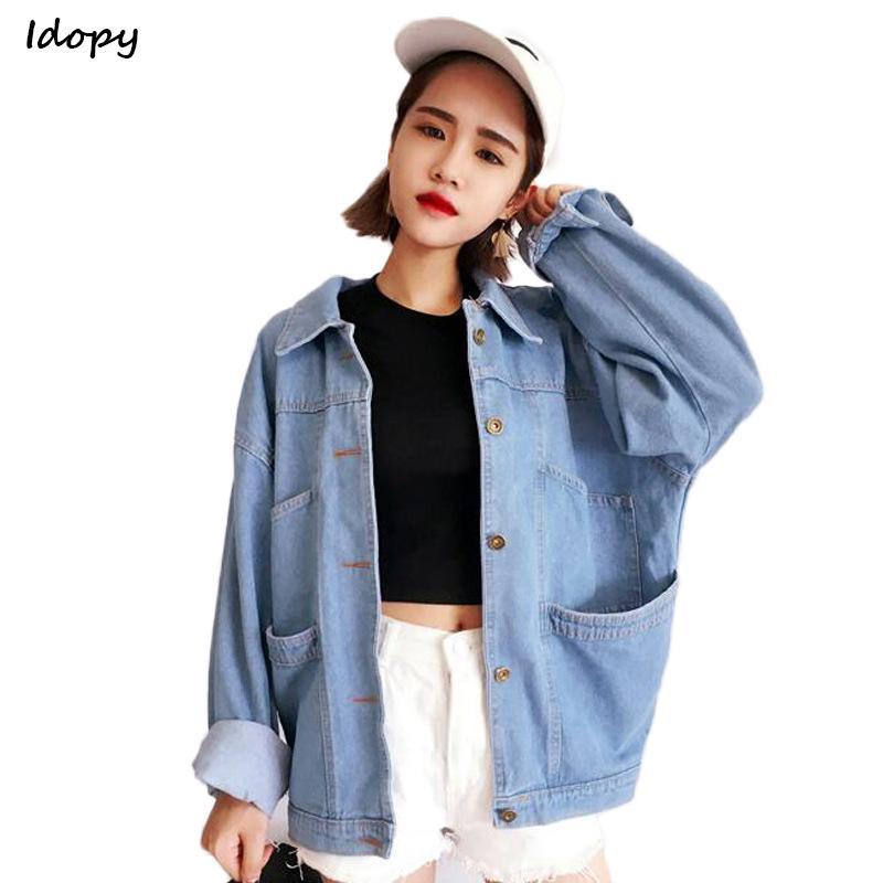 Idopy Cute Women`s Boyfriend Style Denim Veste Vintage Designer Baggy Streetwear Oversize Jean Manteau Outwear Pour Femme