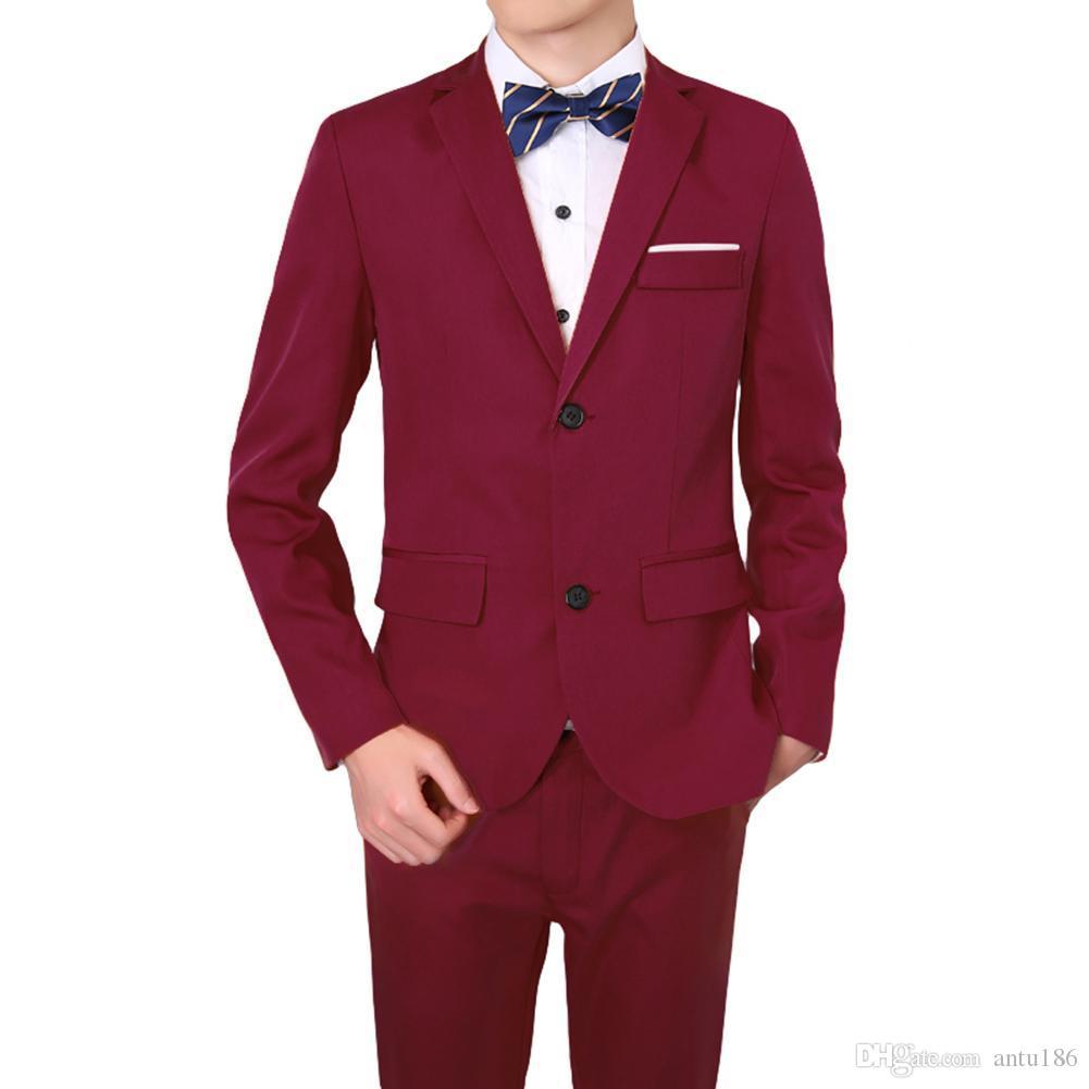 Erkek moda yakışıklı takım elbise iki parçalı takım (ceket + pantolon) erkek ince zayıflama iş resmi takım elbise destek özelleştirme