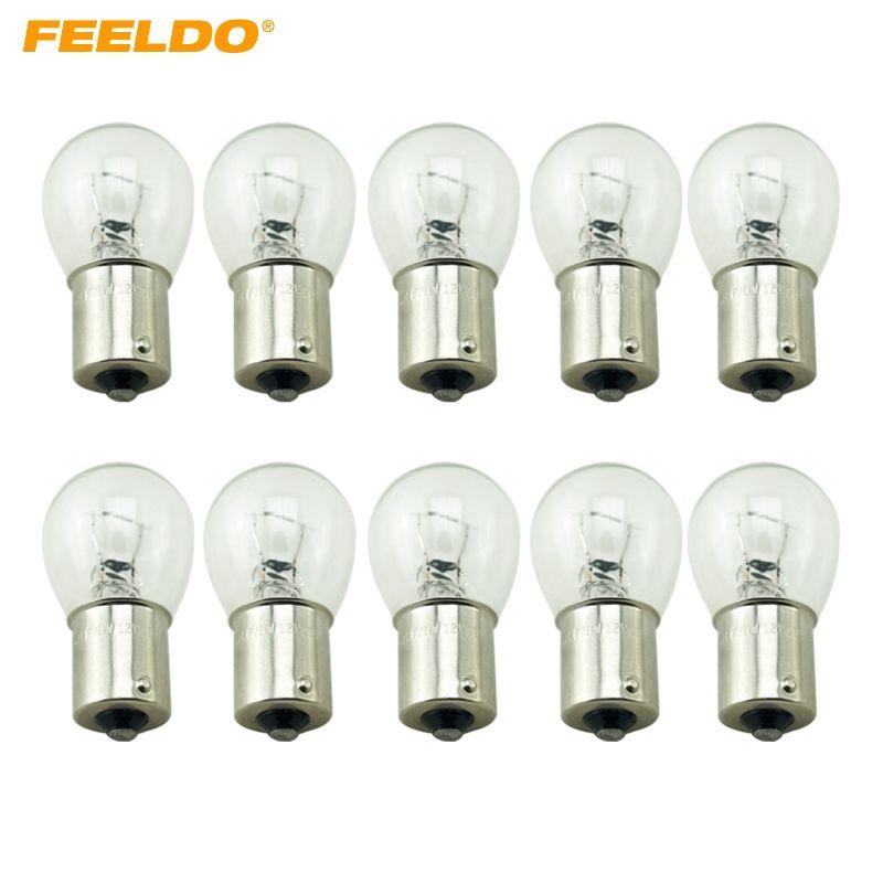 FEELDO 10pcs 1156 BA15S S25 P21W 12V 자동차 투명 유리 램프 꼬리 전구 자동 표시기 할로겐 램프를 설정 # 2724