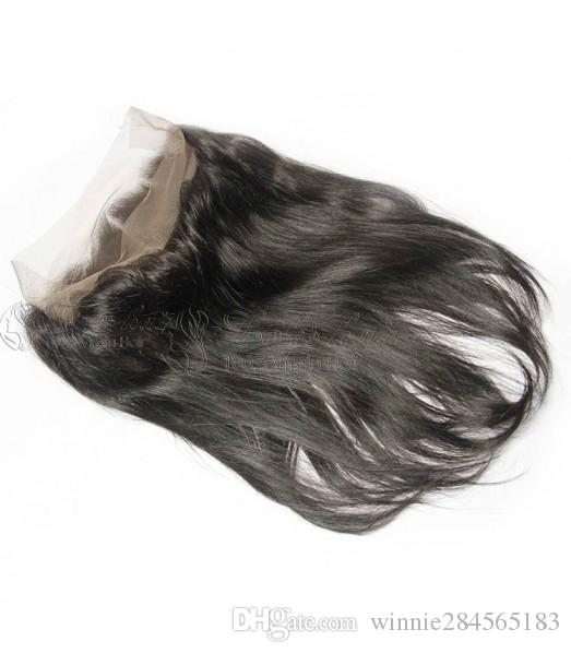 360 Degree Lace frontal peruana brasileira Malásia Virgin Remy Cabelo Natural Pretos Liso Human Hair Salon Use