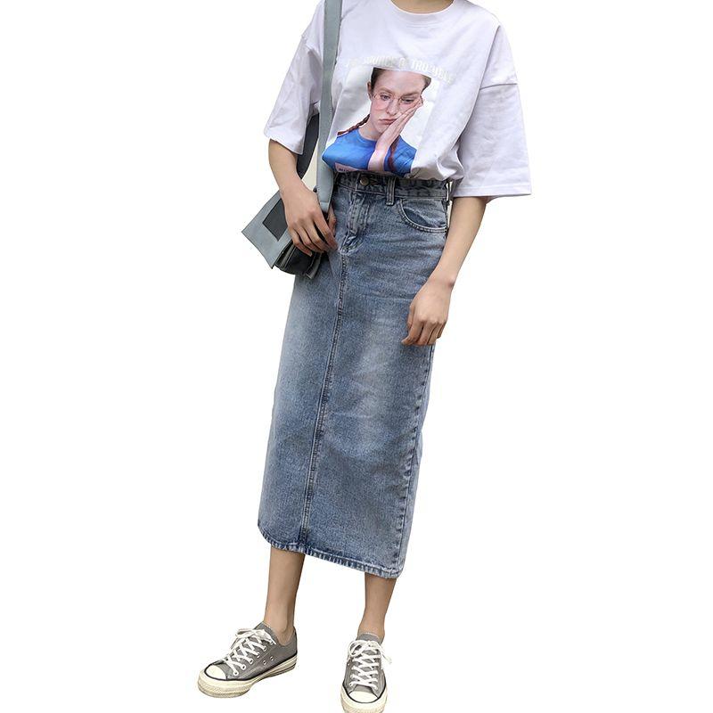 Saias Jeans das mulheres Jeans Rasgado Saia Longa Lápis Lavado Curto Vestido de rua Calça Jeans Saias com Bolsos Plus Size Saias Divididas N168