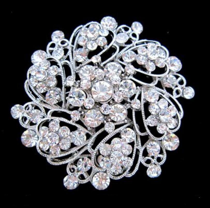 Ton argent alliage strass cristal look vintage fleur mariage gâteau broche