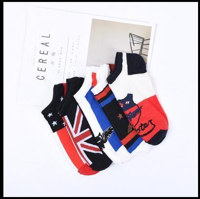 5 пар / лот мужская полоса лодка носки мультфильм Harajuku хлопок короткий носок мужчины мода подарки хип-хоп уличный стиль счастливые носки
