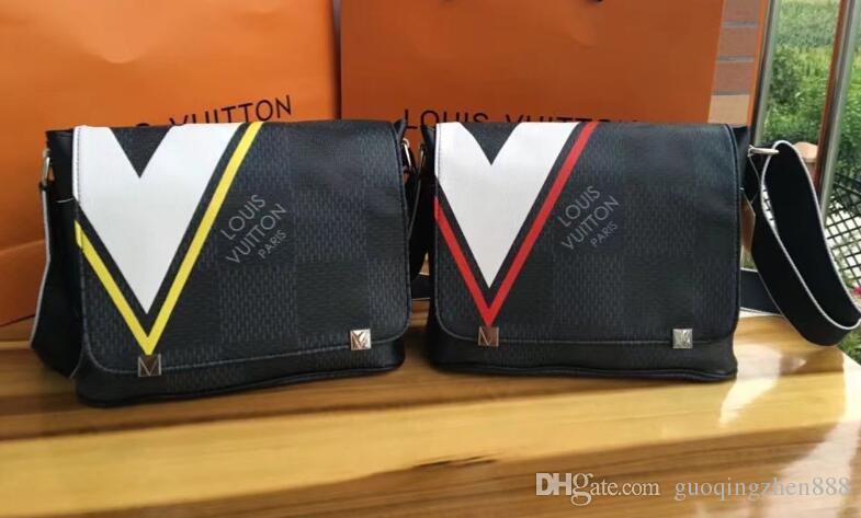 Yüksek kalite yeni ünlü tasarımcı klasik erkekler messenger çanta moda crossbody omuz laptop çantası büyük kapasiteli okul öğrenci bookbag