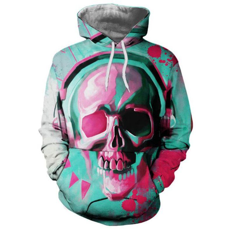 DJ Skull Hoodie Hoodies Hommes Femmes 2018 Nouveau Hip Hop Mode Strretwear Sweat-shirt Sweat Homme Vêtements 3D